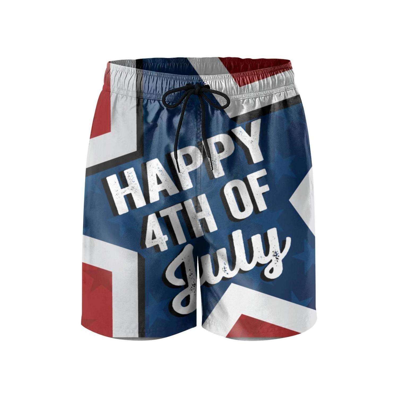 Happy 4th of July Star Poster Beach Swim Mens Shorts Sporty Microfiber