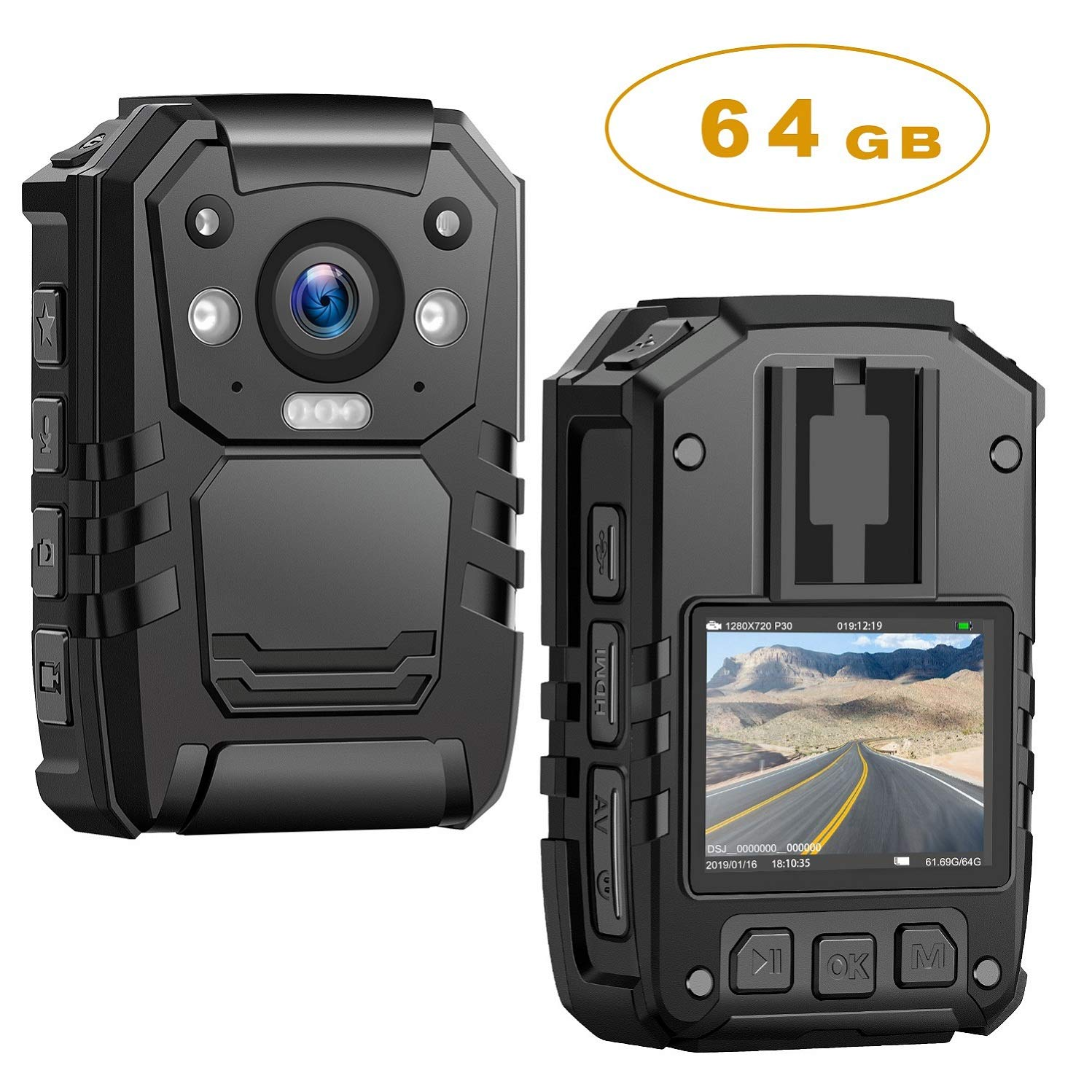 1296P HD Police Body Camera,64G Memory,CammPro Premium Portable Body Camera,Waterproof Body-Worn Camera with 2 Inch Display,Night Vision,GPS for Law Enforcement Recorder,Security Guards,Personal Use by CammPro
