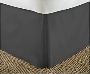 ienjoy Home IEH-BEDSKIRT-QUEEN-BLACK Home Collection Pleated Bed Skirt, Queen, Black