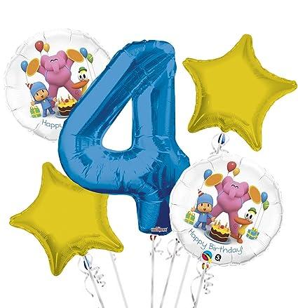 Amazon.com: Pocoyo El Globo Ramo 4th cumpleaños 5 Pcs ...