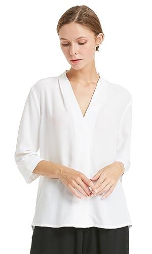 Lilysilk Blusa Mujer Escote V 100% Seda Natural DE 18 Momme