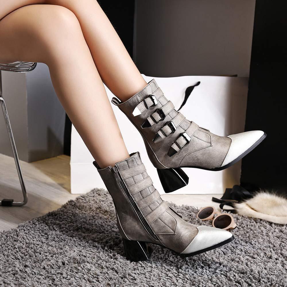 ZHRUI Hausschuhe Damen Damen Hausschuhe Stiefel, Mode Leder Gürtelschnalle Gürtelschnalle Gürtelschnalle Starke Ferse Schuhe Spitz Martin Stiefel, (Farbe   Grau, Größe   3 UK)  9aa963