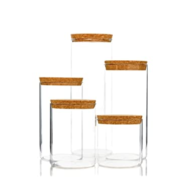 Kitchen Storage Containers With Cork Lids, Set Of 5 Durable Clear Glass Food Canisters For Dry Goods Pantry Organization by Wylder