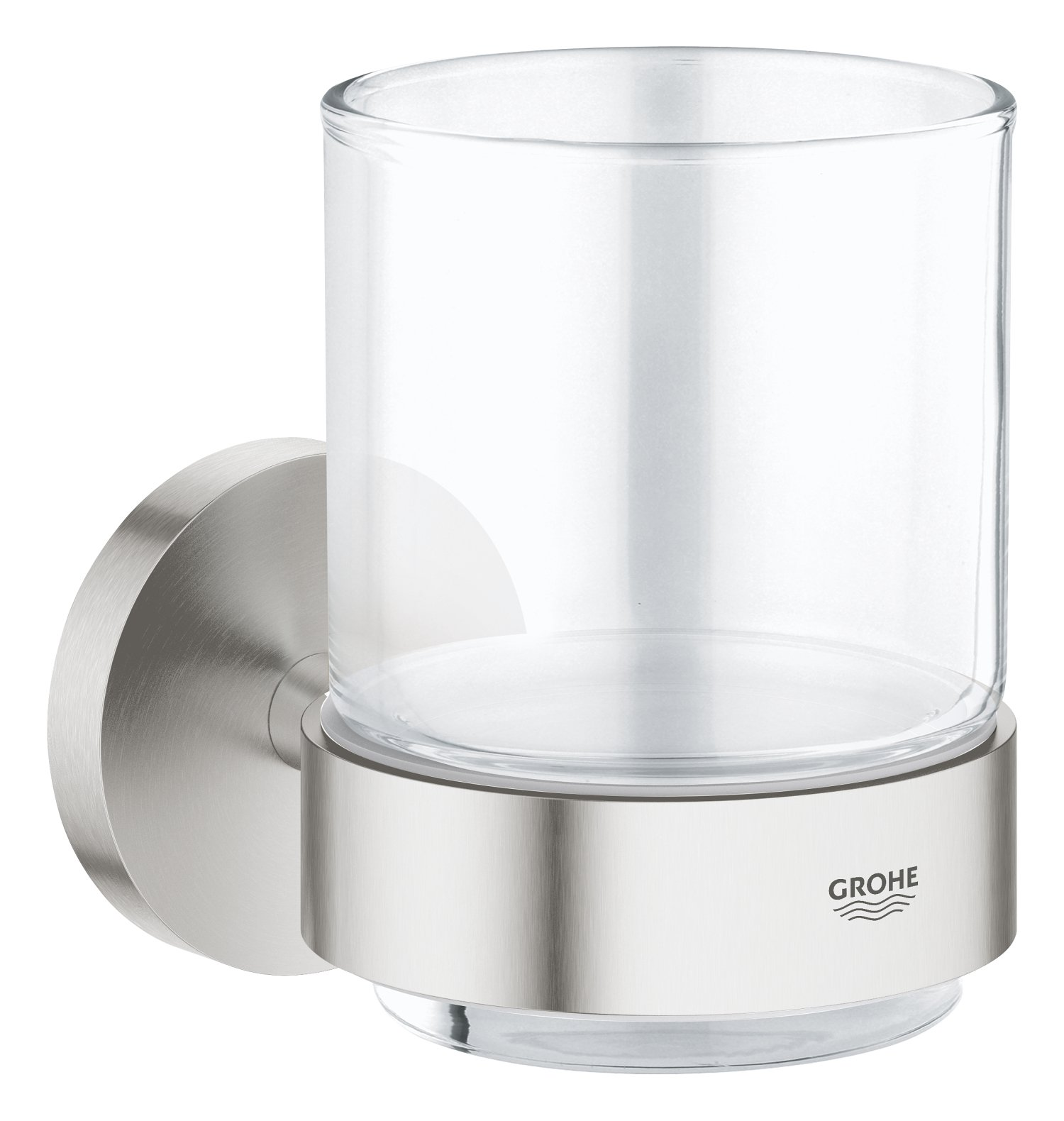 GROHE 40447DC1 Super Steel Essentials Glass with Holder, Silver