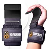 DMoose Fitness Weight Lifting Hooks Grip (Pair) - 8 mm Thick Padded Neoprene, Double Stitching Deadlift Straps for…
