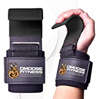 DMoose Fitness Weight Lifting Hooks Grip- Non-Slip Rubber Coating, Double Stitching with 8mm Thick Padded Neoprene…