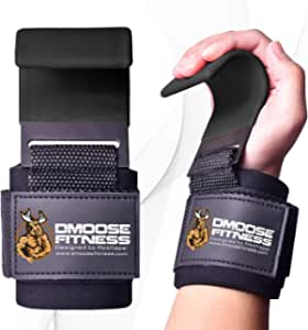 DMoose Weight Lifting Hooks (Pair), Hand Grip Support Wrist Straps for Men and Women, 8 mm Thick Padded Neoprene, Deadlift, Powerlifting, Pull up bar, Liftups, Shrugs, Gym Workout Assist Gloves