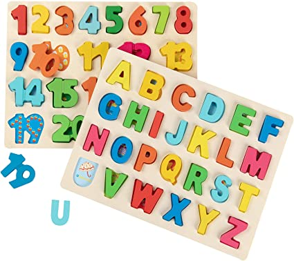 ABC Puzzle Board for Kids Timy Wooden Alphabet Puzzle and Number Puzzle Set for Toddlers