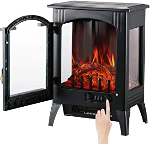 GDY 1500W Portable Indoor Home Compact Electric Wood Stove Fireplace Heater with Thermostat for Office & Home