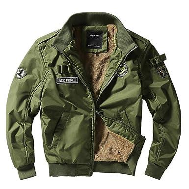 7f1eaf61e715 Amphia Bomber-Jacke Übergangsjacke Schwarz Khaki Camouflage  Baumwollmantel,Männer Winter lässige Jacke Stand Kragen