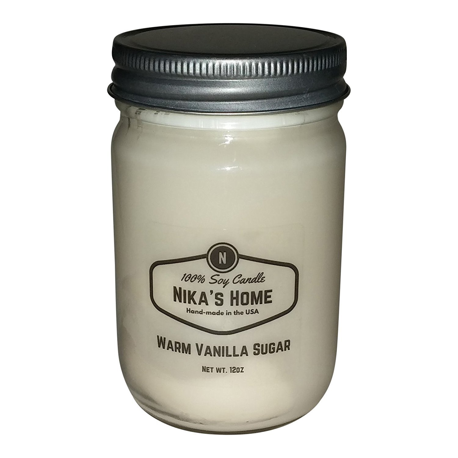 Nika's Home Warm Vanilla Sugar Soy Candle - 12oz Mason Nika' s Home
