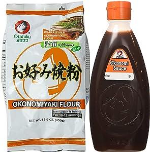 Otafuku Okonomiyaki Flour and Okonomi Sauce   Osaka Style   15.9 Oz and 17.6 Oz