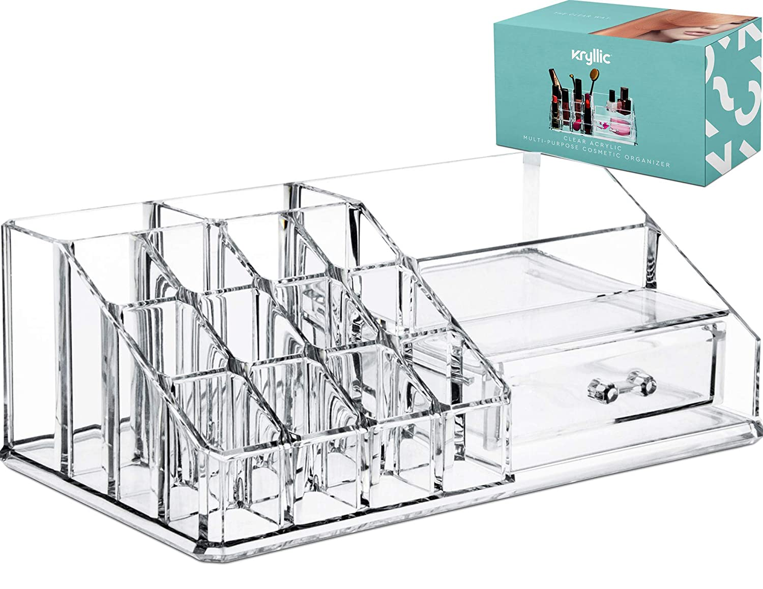 Acrylic Cosmetic Storage Lipstick Organizer - Decor 15 slot organizers & 1 box drawer tray holder for makeup perfume brush pens pencil lipgloss and other beauty accessories! For vanity or countertop! Kryllic 29885