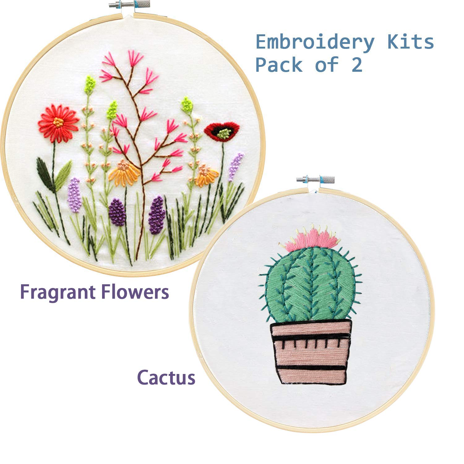 Fragrant/&Floralhoop Bamboo Embroidery Hoop Color Threads and Tools Kit Unime Full Range of Embroidery Starter Kit with Partten Cross Stitch Kit Including Embroidery Cloth with Color Pattern