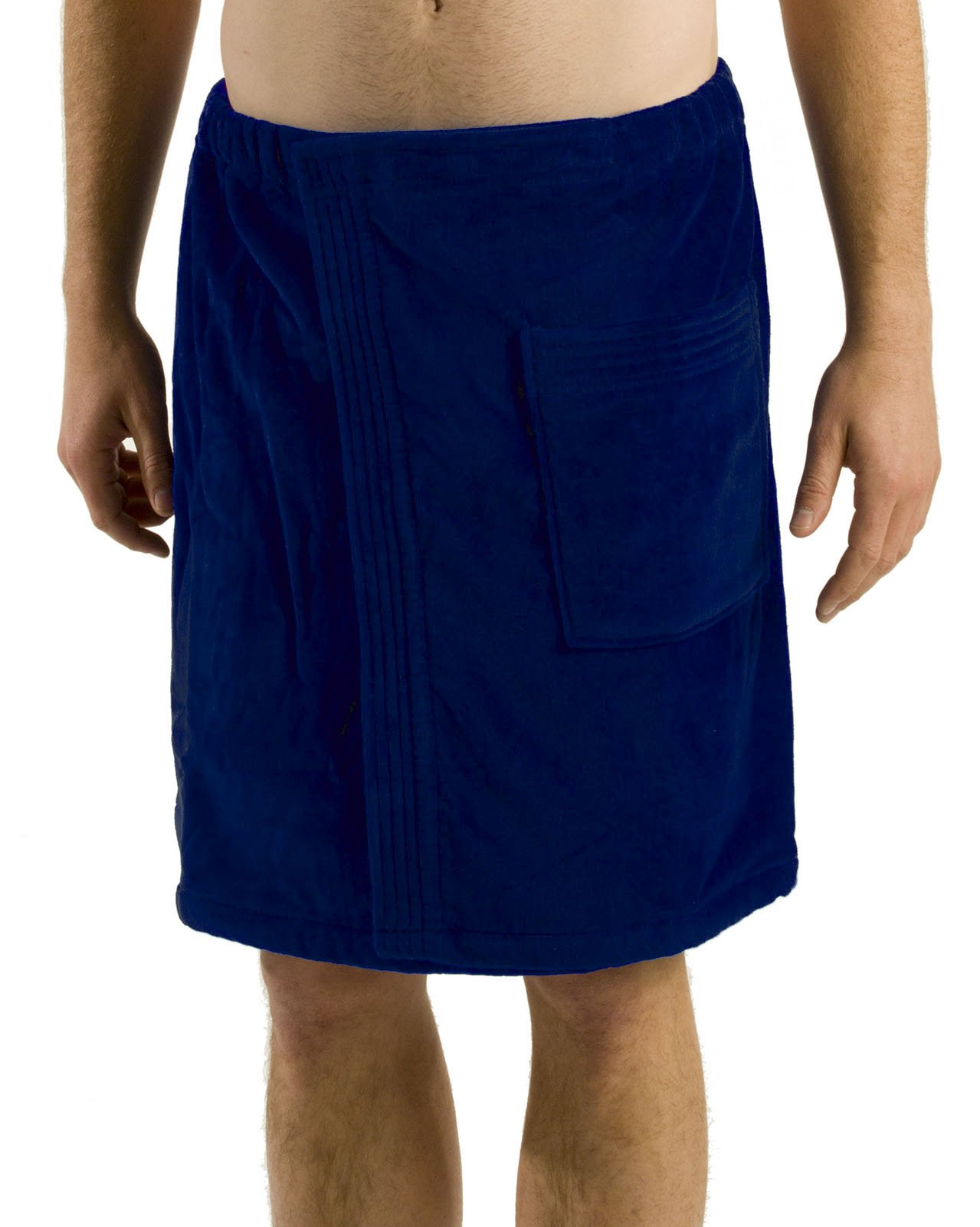 robesale Bamboo Cotton Mens Spa Wrap, Navy, S/M
