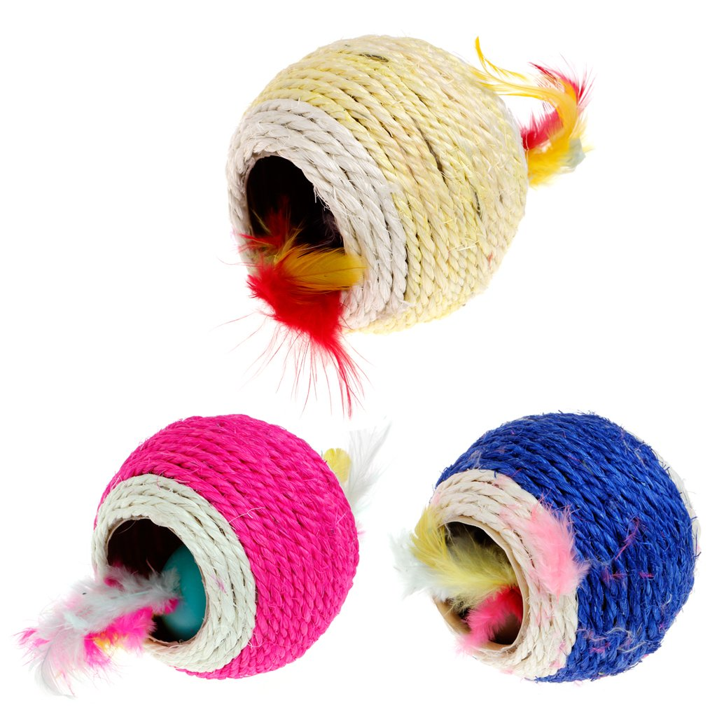 well-wreapped NerverKO Lovely Sisal Rope Feather Ball Teaser Scratch Chew Play Toy For Pet Cat Kitten 1 Pcs