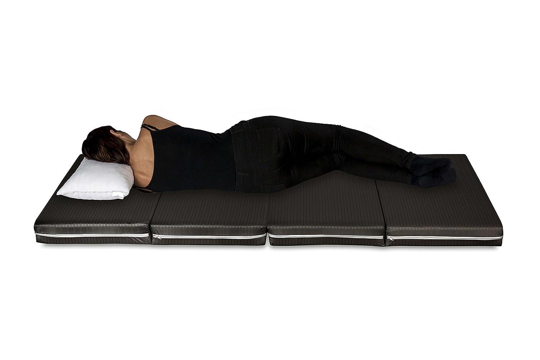 Evergreenweb - Futón cama, colchoneta ahorraespacio, plegable en 4 partes y convertible en práctico puf, futón portátil apto para masaje shiatsu.