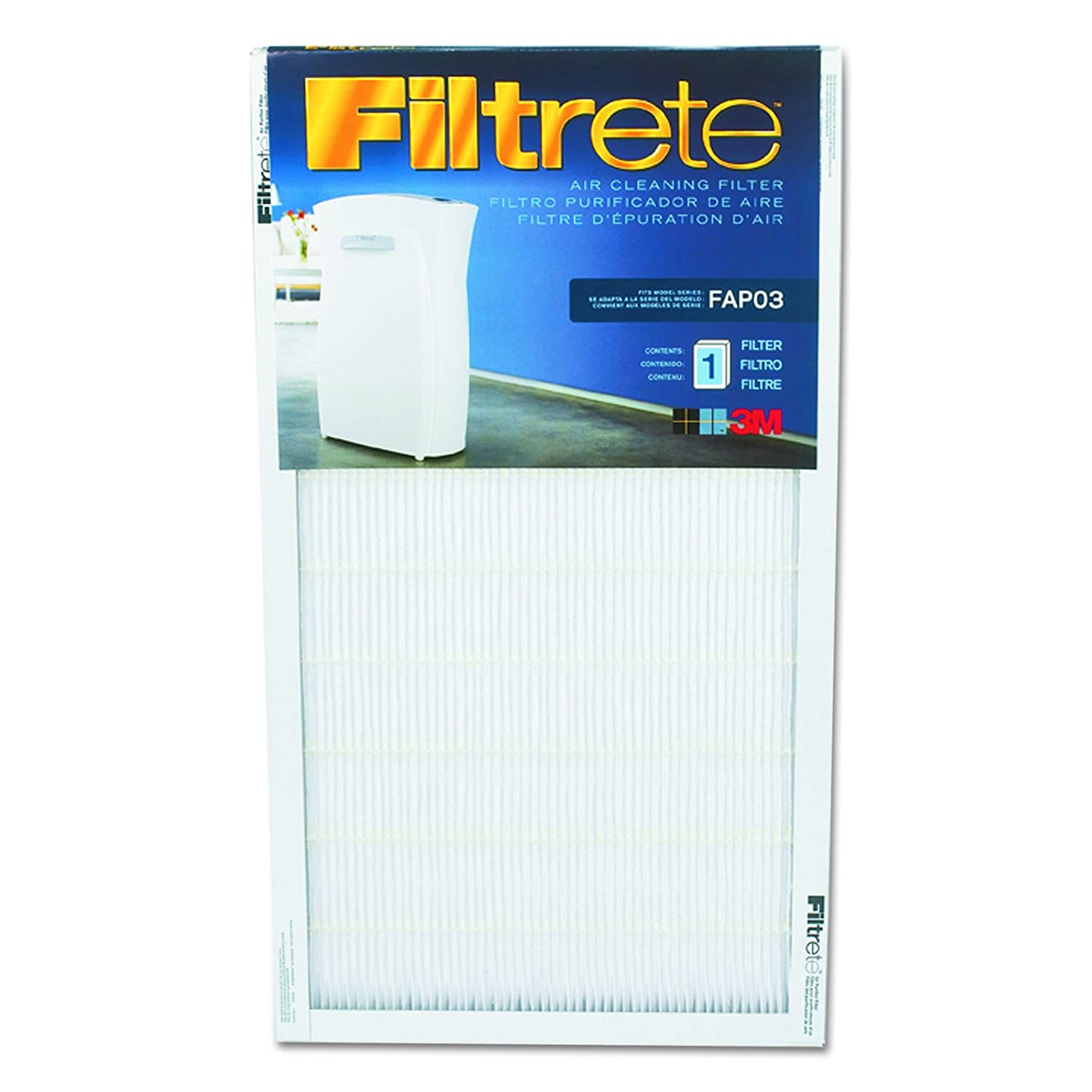 Filtrete Air Cleaning Filter, 11.75 in x 21.44 in x .75 in, 1/Pack 3M FAPF03