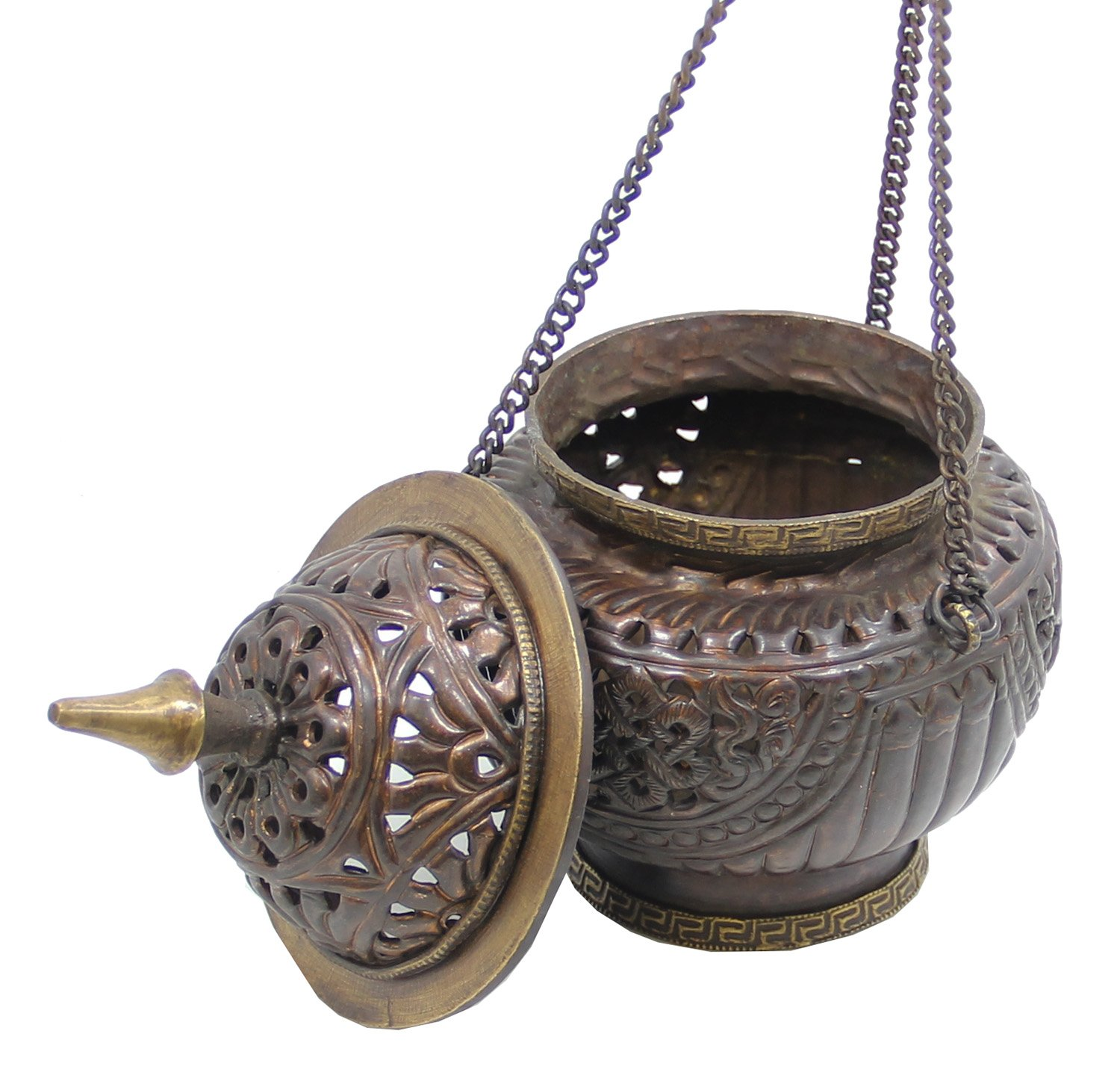 DharmaObjects Tibetan Hanging Incense Burner ~ Copper w/Tibetan Symbols ~ 6'' High by DharmaObjects (Image #3)
