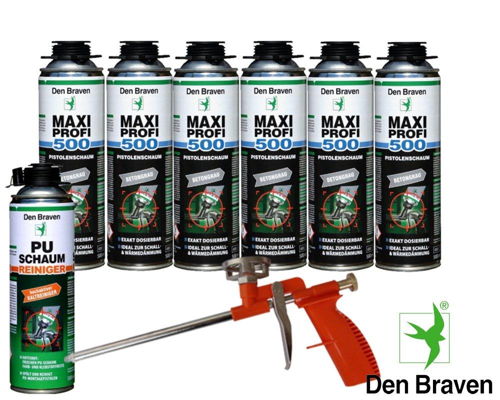 Den Braven Set profesional 6 x Maxi profesional 1 KB2 de - Pistola de espuma de 500 ml pared ventana de juntas hohlräume Mantas + 1 pistola de espuma de ...