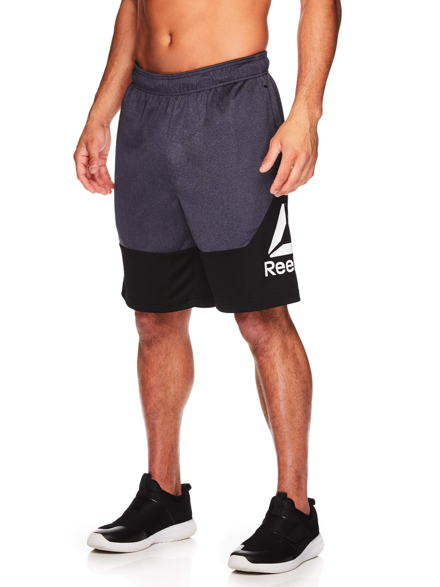 Reebok Men's Drawstring Shorts - Athletic Running & Workout Short w/Pockets - Break Training Ebony Heather, Small
