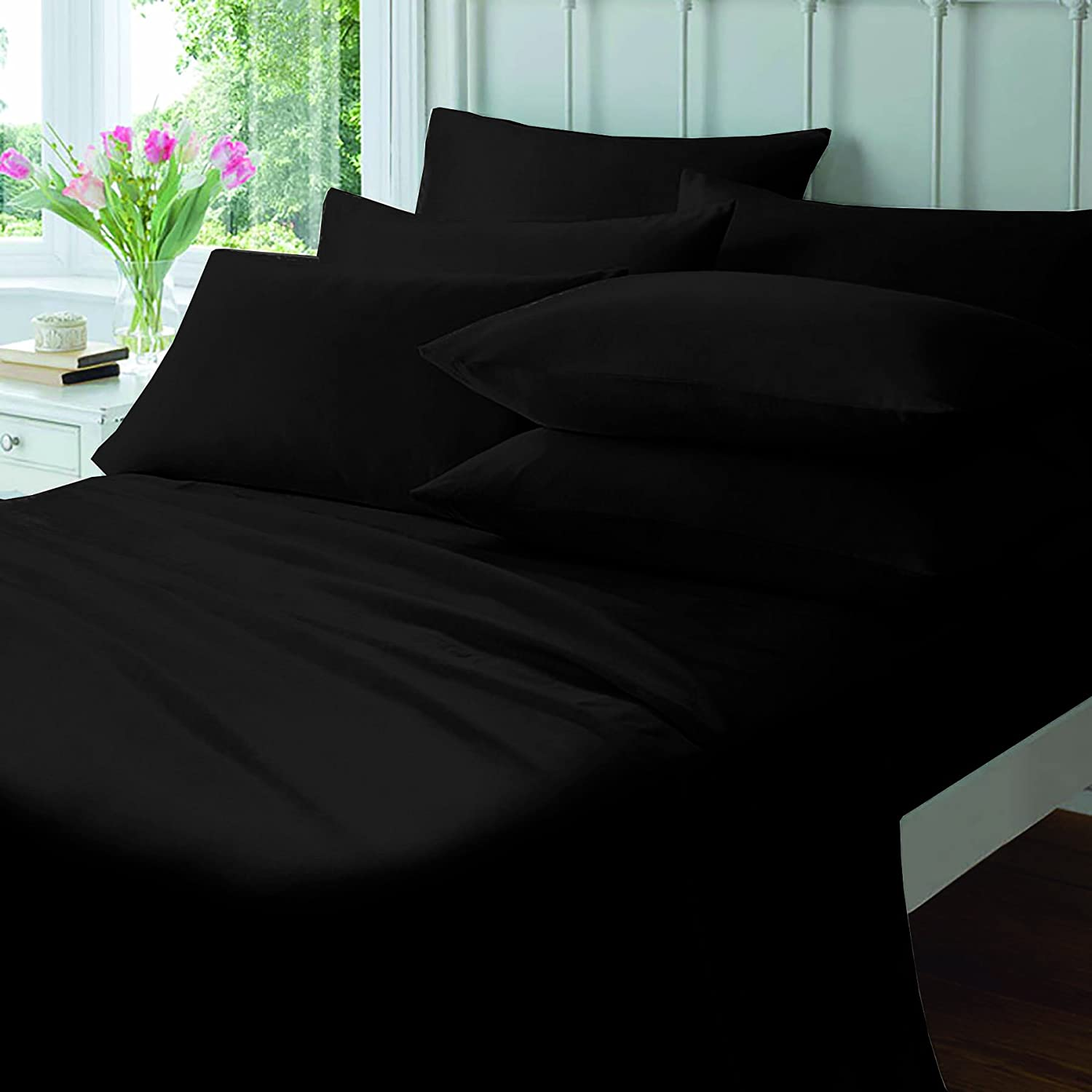 Black Blue PolyCotton Blend 50:50 Flat Sheet By Sleep&Smile : King Size Black