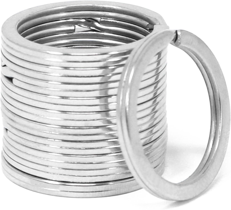 Sortiment Metallringe-Anh/änger /Ø 25 mm 025 St/ück - silberfarben flach com-four/® 25x Schl/üsselringe aus Eisen flach und silberfarben f/ür den Schl/üsselbund