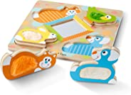 Melissa & Doug First Play Wooden Touch & Feel Puzzle, Peek-a-Boo Pets (4 Textured Pieces and Mirror)