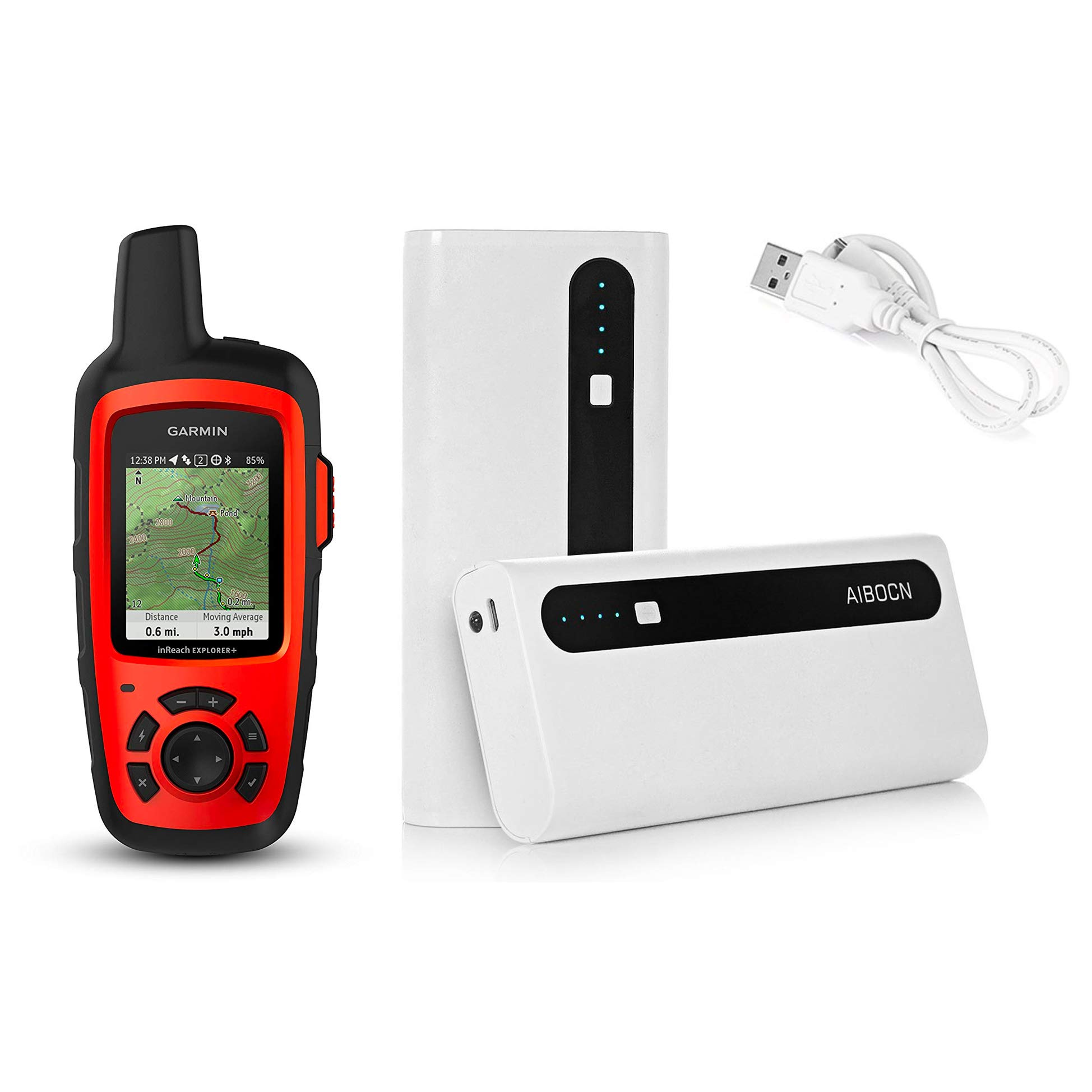 Garmin inReach Explorer+ Handheld Satellite Communicator with GPS Navigation, Maps, and Sensors 010-01735-10 and Aibocn 10,000mAh Portable Battery Charger Bundle by GPS City