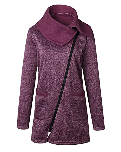 Mujeres Irregular Manga Larga Casual Rebecas Tops Outwear Capa Rojo púrpura L