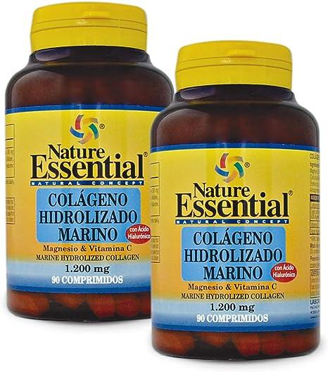 Nature Essential Colágeno marino hidrolizado + magnesio +vitamina C. 1200 mg - 90 comprimidos, Pack 2 unidades