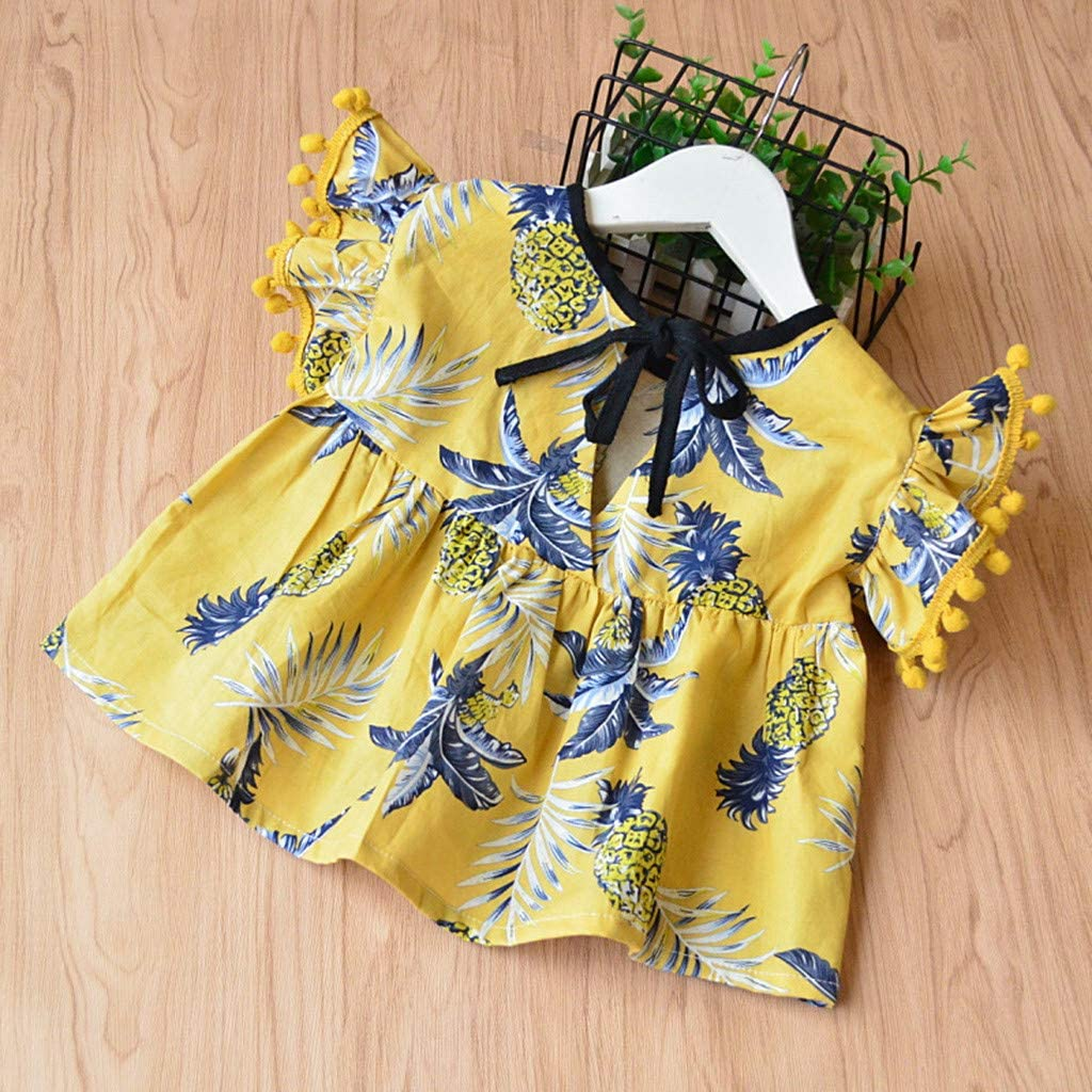 RYGHEWE Kids Newborn Baby Girls Outfits Clothes Pineapple Print T-Shirt+Tassels Shorts 2Pcs Set