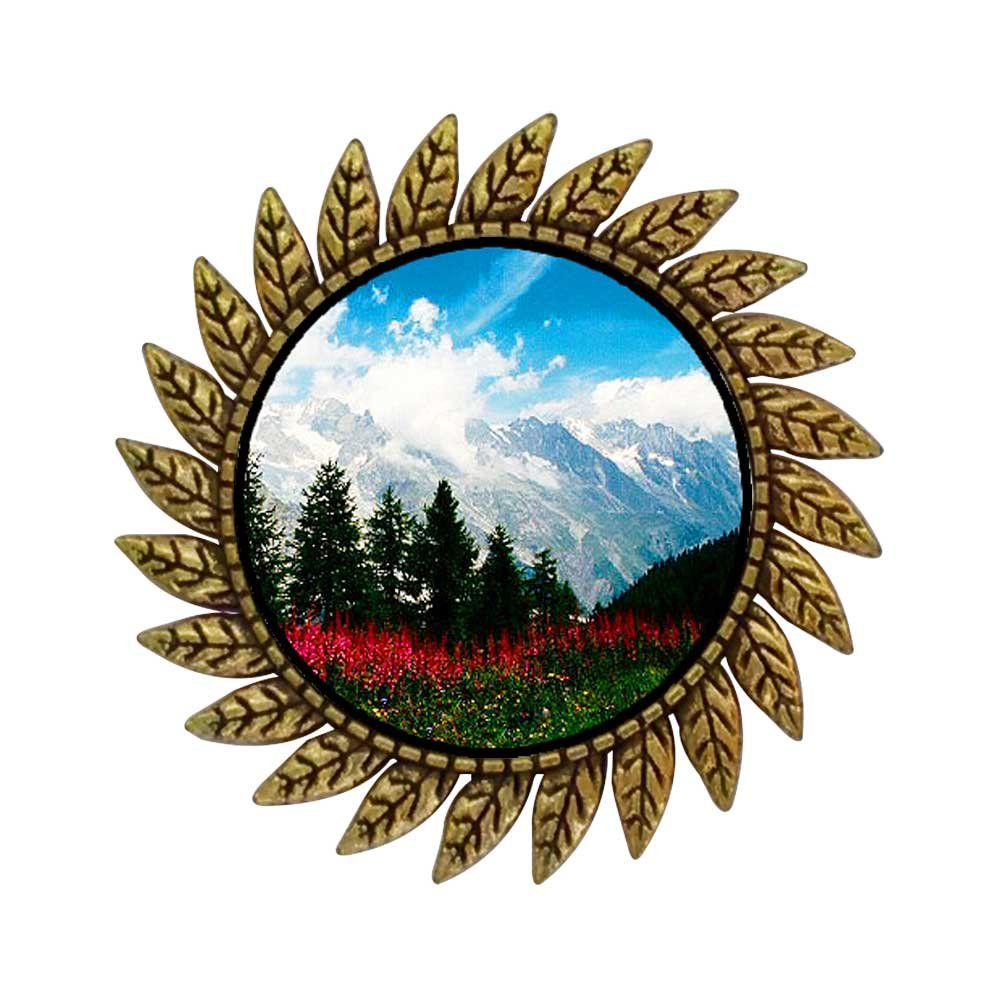 GiftJewelryShop Ancient Style Gold-plated Travel German Alps Hot Style Gear Round Pin Brooch