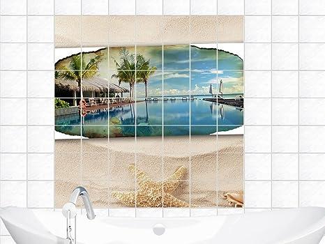 Piastrelle sticker adesivo da parete piastrellata per bagno stella