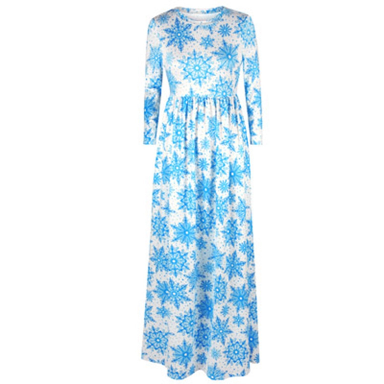 80192 003 BCVHGD Dress 3D Christmas Tree Print Women Nine Point Sleeve Vintage Long Dresses