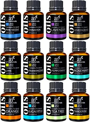 ArtNaturals Essential Oils Set (12 x 10ml) 100% Pure Natural Highest Quality Oil for Diffuser - Therapeutic Grade - Aromatherapy for Sleep, Relaxing & Calming - Eucalyptus, Lavender, Tea Tree & More