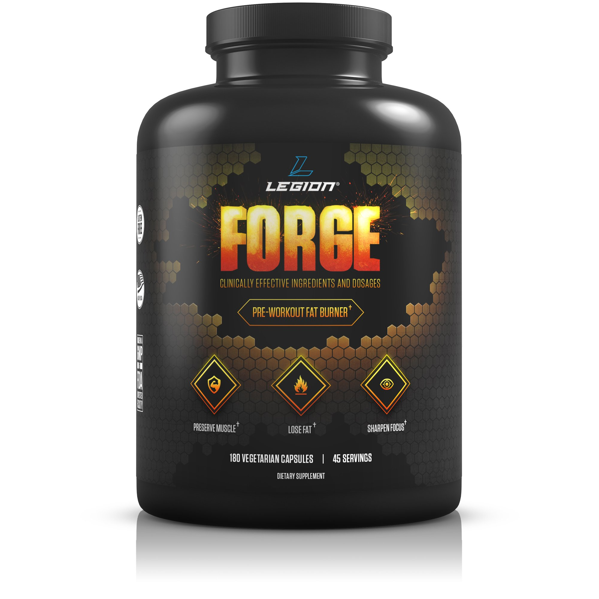 Legion Forge Belly Fat Burner - Lose Your Love Handles, Get a Flat Stomach and Trimmer Waist Fast. Helps With Stubborn Leg & Butt Fat Too! With Yohimbe, HMB, Choline. All Natural, 45 Servings. by Legion Athletics