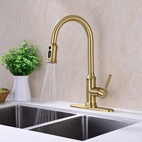 GICASA Kitchen Faucet, Gold Kitchen Faucet, High Arc Kitchen Faucets with Pull Down Sprayer, Single Handle Pull Out Kitchen Faucet, 1 or 3 Hole Kitchen Faucet with Deck Plate