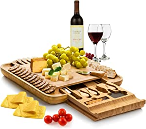 Bambüsi Premium Bamboo Cheese Board - Wood Charcuterie Serving Board Platter and Knife Set with Hidden Slid-Out Drawer - Perfect Choice for Housewarming, Bridal Shower, Wedding, Birthday Gift