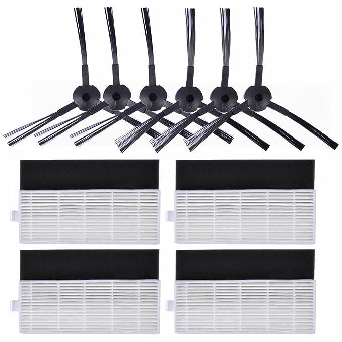 KEEPOW Kit de 10 pcs Repuestos para ILIFE A4s, A6, A4 Robot Aspirador, Incluye 6 Cepillos Laterales + 4 Filtros HEPA de Reemplazo