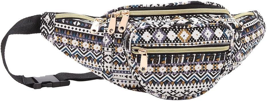NEW LADIES CANVAS FLORAL DENIM AZTEC POLKA DOT FANNY PACK FESTIVAL BUM BAG