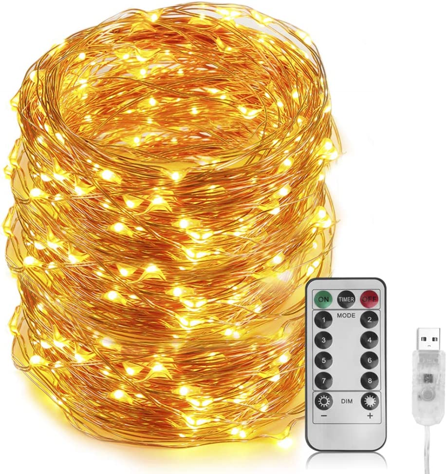 66 Ft 200 LED Fairy Light - Cooper Wire String Light USB Powered with 8 Modes Remote Control for Indoor&Outdoor, for Bedroom Ceiling Wall Tapestry Halloween Christmas Decor (Warm White Colored) : Garden & Outdoor