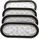 "(4) 6"" Oval Clear LED Reverse Back-up Light Flush Mount Trailer Truck"