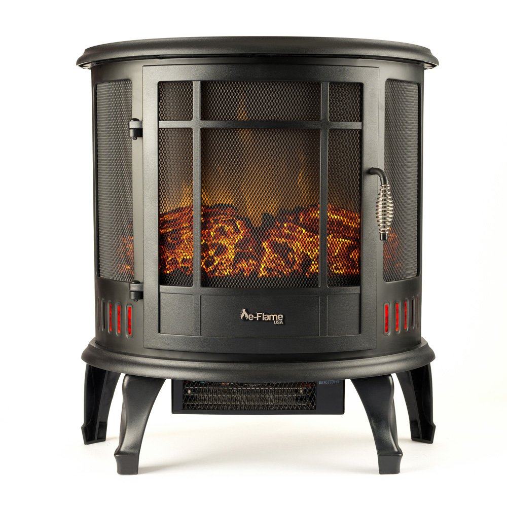 Regal Curved Portable Free Standing Electric Fireplace Stove by e-Flame USA – 25-inches Tall – Matte Black – Features Heater and Fan Settings with Realistic and Brightly Burning Fire and Logs