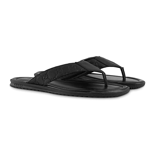 1a0d48650 Gucci Men's Rubberized Guccissima Leather Thong Sandal, Black (Nero) 353765  (11.5 US