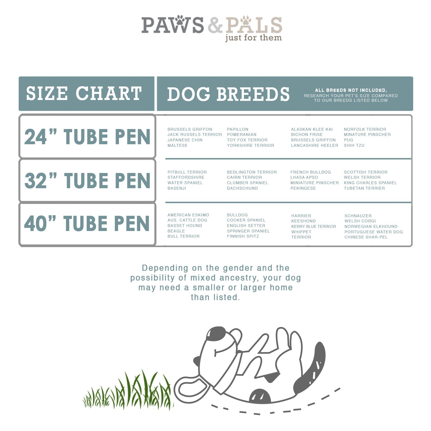 Oxgord Heavy Duty Metal Pet Exercise pen Size Chart