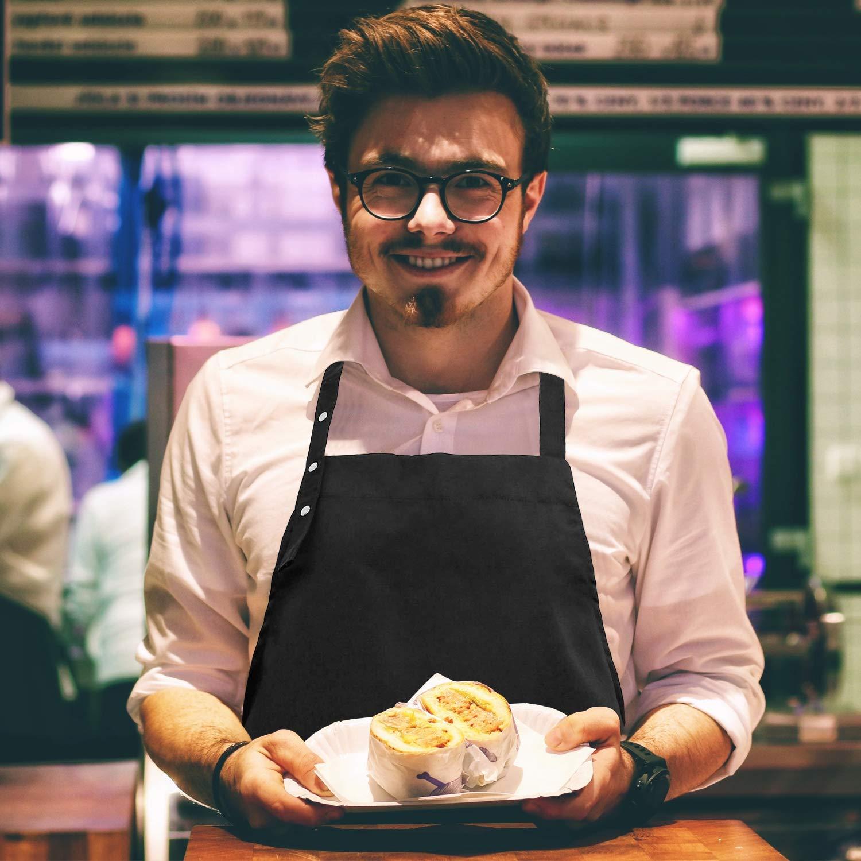 HONZUEN Grembiule Cucina Uomo Donna Nero per Cucinare Barbecue Giardino Ristorante Grembiule Cuoco con 2 Tasche e Tracolla Regolabile Grembiule Bar Grembiule Barbecuee Grembiule Cameriere