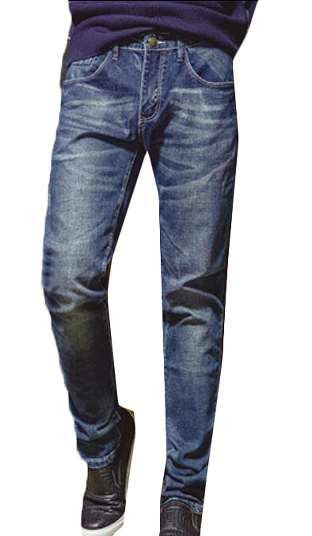 DDK Men's Casual Regular-Fit Straight Leg Jeans Blue 28
