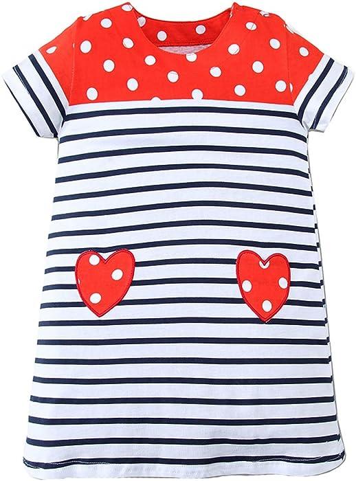 49cffd6e2 Girls Causal Dress Cartoon Cotton Kids Appliques Unicorn Dress Short Sleeve