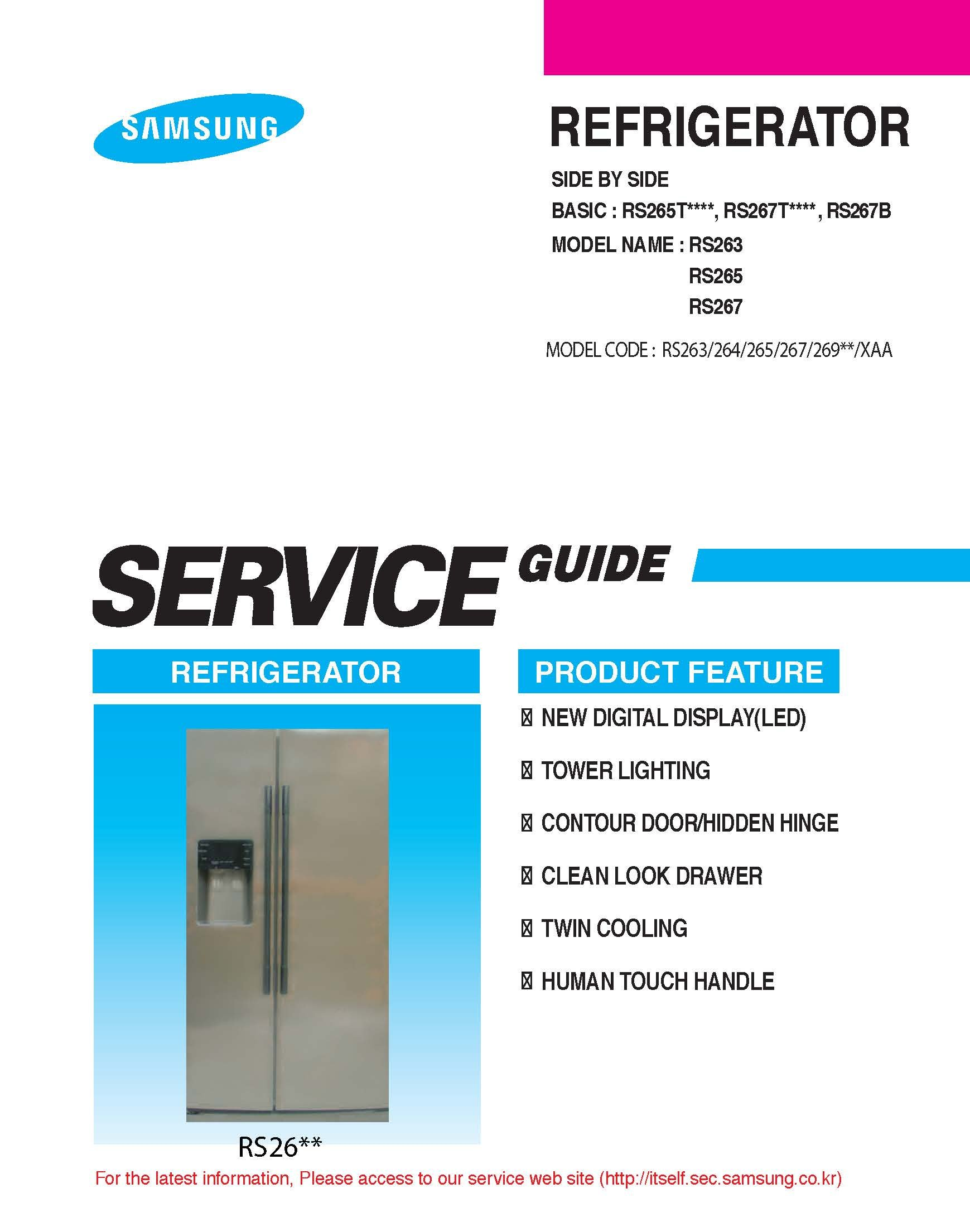 RS265TDRS REFRIGERATOR service manual: SAMSUNG: Amazon com: Books